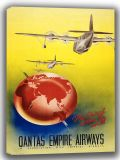 Qantas Empire Airways: Fly British Across the World. Vintage Travel/Tourism Canvas. Sizes: A4/A3/A2/A1 (002727)